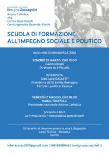 Scuola Formazione impegno sociale e politico Benigno Zaccagnini_incontri primavera 2019